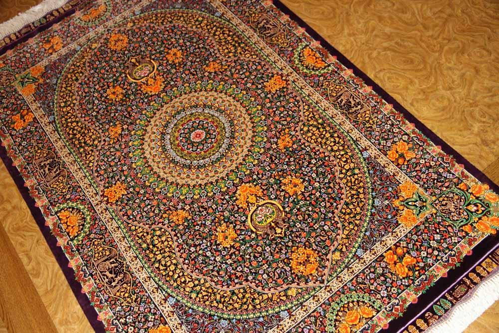 最高級手織りセンターラグ、クムシルクのペルシャ絨毯60022