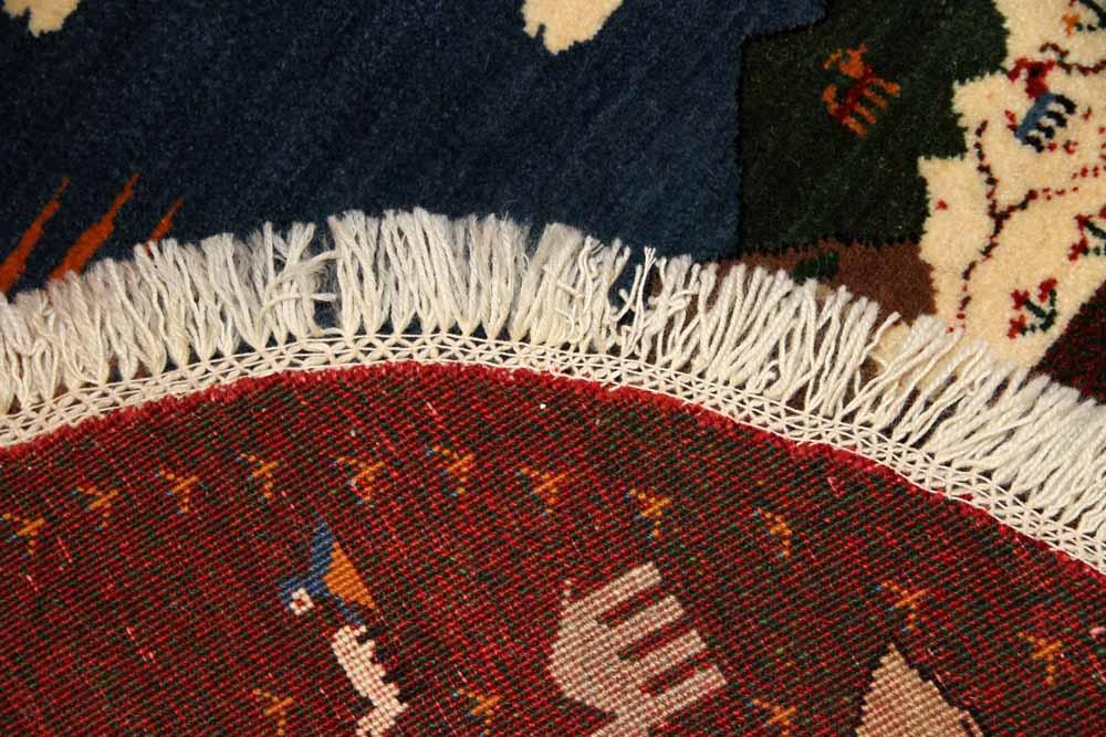 おしゃれ丸ギャッベ、手織りオリジナルペルシャギャッベ37172