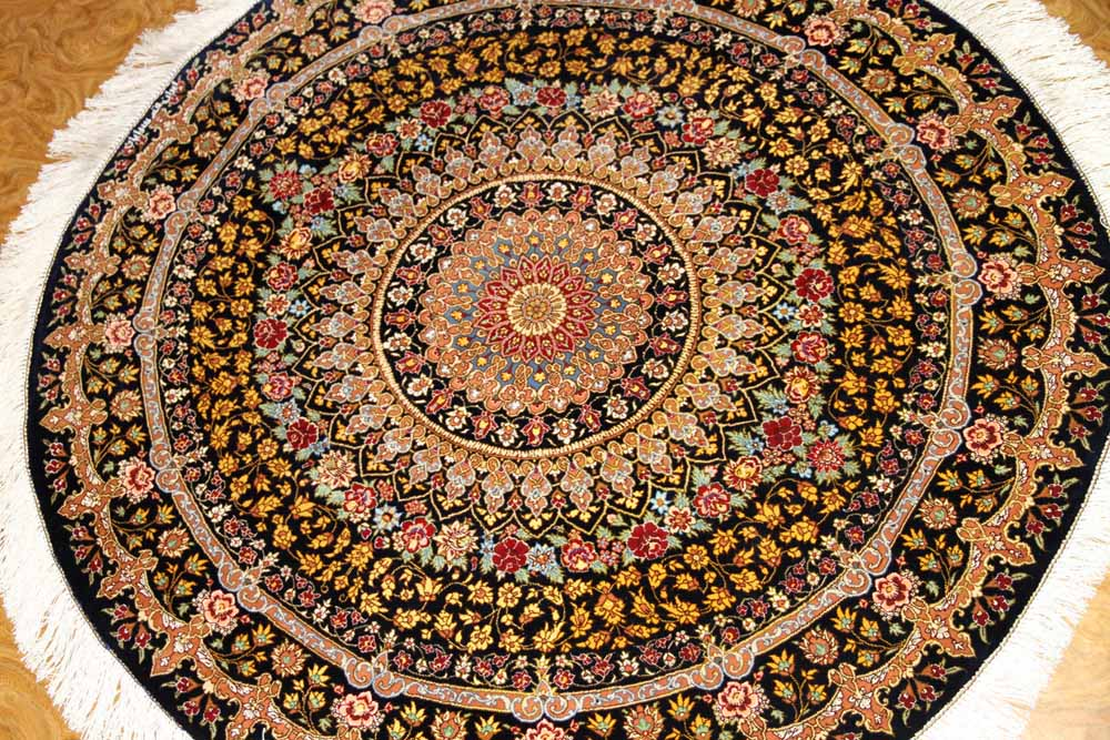 おしゃれ玄関マット、手織り円形のクムシルクペルシャ絨毯60053