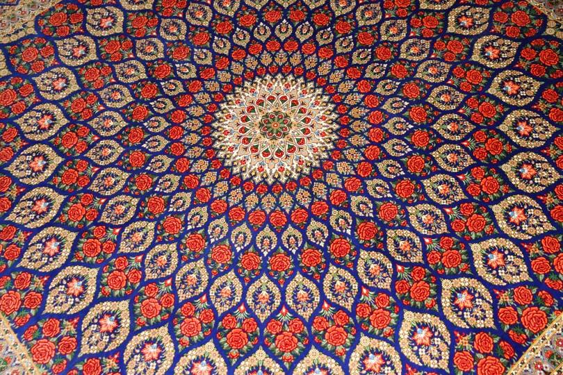 ローズカーペットのシルク最高級手織りペルシャ絨毯555993