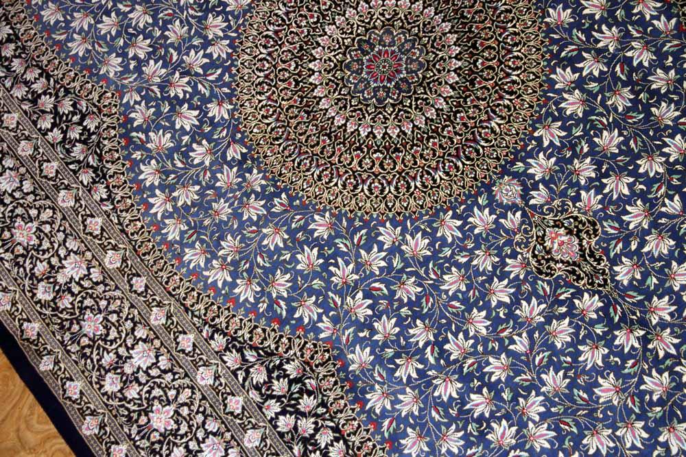 手織り高級シルクラグ伝統的なメダリオンブルー60018