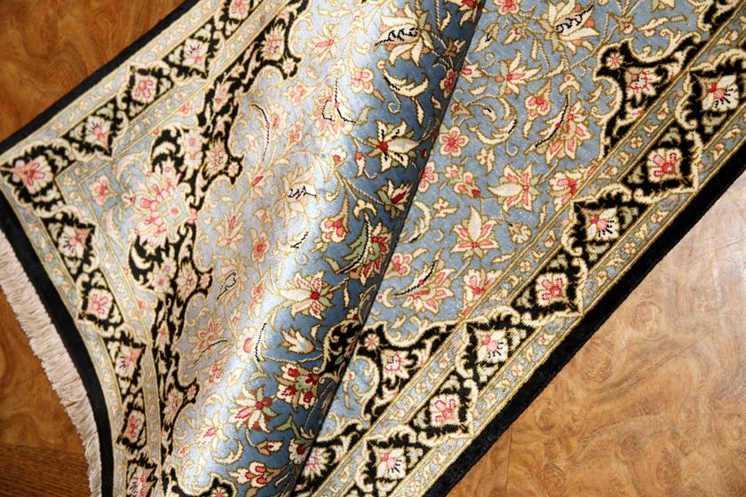 スカイブルー玄関マットペルシャ絨毯50021
