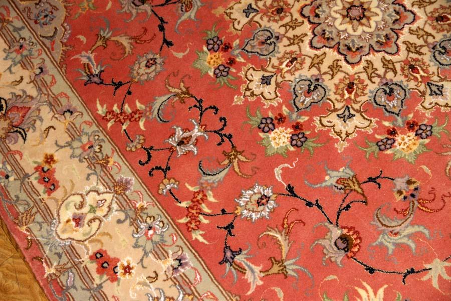 手織りペルシャ絨毯タブリーズラグピンク色55479