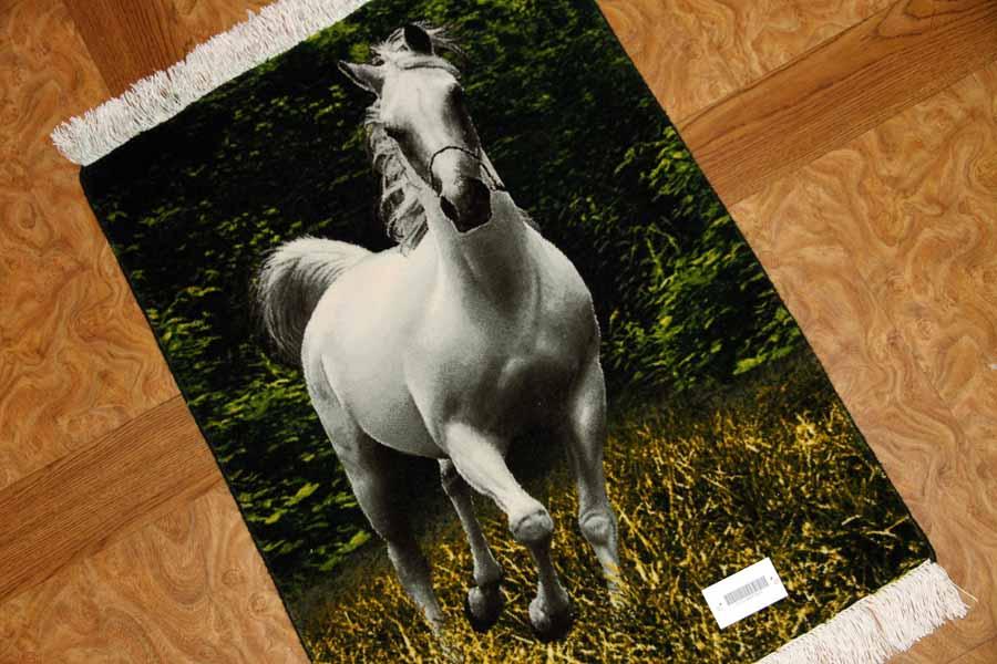 ペルシャ絨毯タブリーズピクチャー白い馬55352
