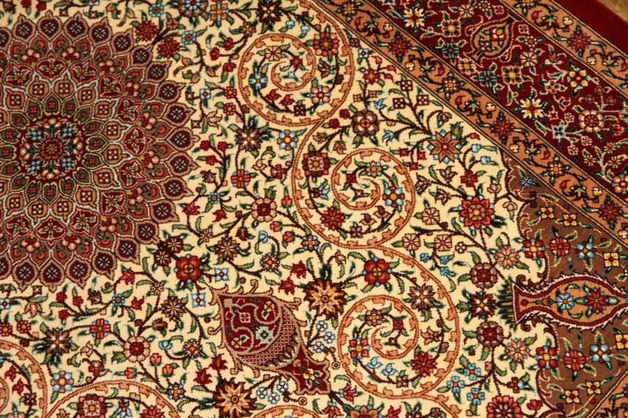 ハイクオリティーシルクの手織り玄関マットクム産地ペルシャ絨毯59095