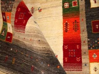 高品質のメリノウールの手織りギャッベ、フワフワラグ188214