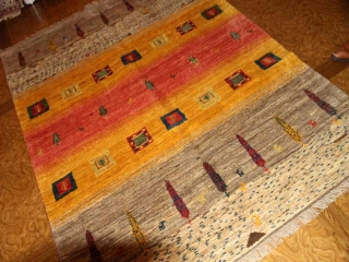 手織りペルシャギャッベソファー前サイズのオレンジ色197600