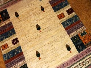 センターラグ高級手織りペルシャギャッベ羊毛ウール19735