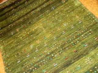 ペルシャイラン手織りギャッベグリーン色933800