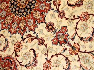 ペルシャ柄の手織りラグマットシルク50067