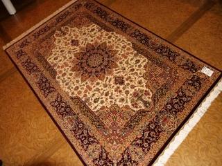 ハンドメイドシルクラグペルシャ絨毯クム99512