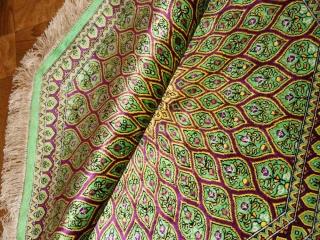 八角ペルシャ絨毯クムシルクおしゃれ玄関マット60042
