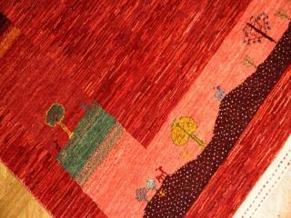 高品質イラン製赤いギャッベ手織りペルシャラグウール192126