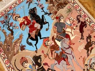 ペルシャ絨毯のハンティング模様イスファハン50134