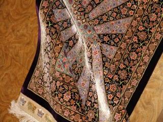 最高級有名工房のJEDDI玄関マットシルクペルシャ絨毯60062