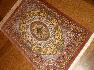 ペルシャ絨毯手織りシルクの玄関マット細かいデザイン56070
