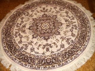 機械織りイランカーペット円形ベージュ99001