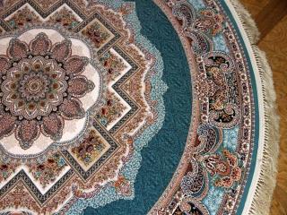 最高級機械織りペルシャカーペット丸い形ブルー990086M