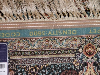 正方形リビング最高級品質の機械織りイラン製カーペットブルー990074