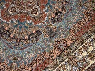 機械織りイラン製最高級品質カーペットリビングサイズブルー990076