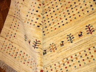 大きなペルシャギャッベ、オリジナルリビングサイズ明るい色彩18107