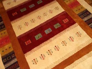 高品質のメリノウールの手織りギャッベ、フワフワリビングじゅうたん18106