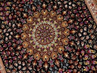 て作り玄関マットのシルクペルシャ絨毯メダリオン56051