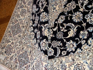 高級6平米ナインペルシャ手織り絨毯シックな紺色59027