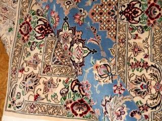高級手織りペルシャじゅうたんイラン製ナインブルー211700