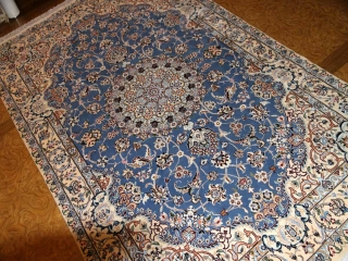 ナインブルーとても綺麗な色彩ペルシャ手織り絨毯21127