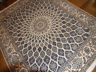 高級ペルシャ絨毯ナインゴンバディデザインペルシャンブルー75135
