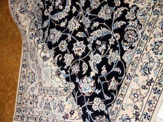 ペルシャ絨毯ナイン、おしゃれなセンターラグ34435