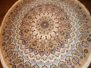 丸い絨毯ペルシャ、円形手織りペルシャ絨毯ナイン産188479