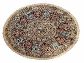 ペルシャ手織り絨毯のナイン丸い形ウールとシルク188459