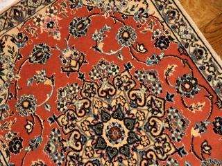 イラン製手織り玄関マットペルシャ絨毯ナイン産34008