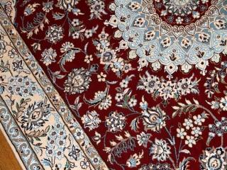 手織りイラン製リビングラグ、ペルシャ絨毯ナイン赤赤い21151