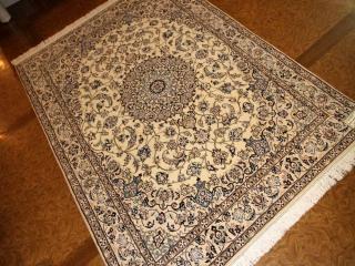 ペルシャ絨毯のナインセンターラグ明るいベージュ色59017