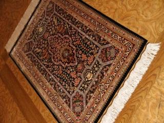 高級シルク玄関マットハンドメイドペルシャ絨毯56045