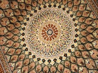 絹ラグのペルシア絨毯クムのゴンバディ模様50087