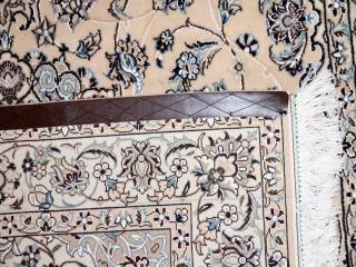 ハンドメイドペルシャ絨毯ナイン産ラグシルクとウール59015