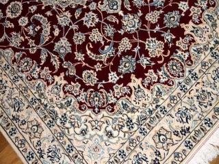素敵な赤い色手織りペルシャラグナイン産メダリオン59011