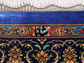 クムシルク手織りペルシャ絨毯ブルー色玄関マット401481