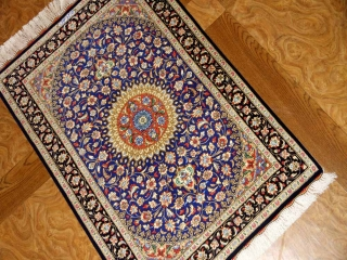 マンションの玄関マット、クムシルクペルシャ絨毯ブルー60039