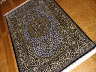 高級手織りペルシャ絨毯センターラグ、クムシルク60052