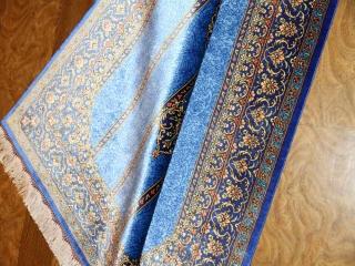 素敵なブルー色手織りペルシャ絨毯クムシルク玄関マット75140