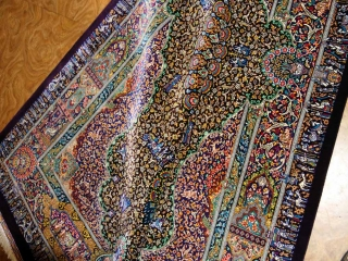 ジャムシディー有名工房センターラグ、手織りペルシャ絨毯60025