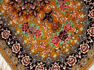 マンションサイズの玄関マット楕円形手織りペルシャ絨毯シルク60054