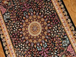 手作り玄関マットのシルクペルシャ絨毯メダリオン56008