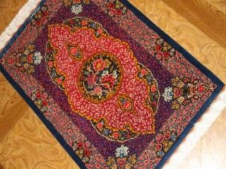 高級ペルシャ絨毯のマンション玄関マット、クムシルクピンク色60048
