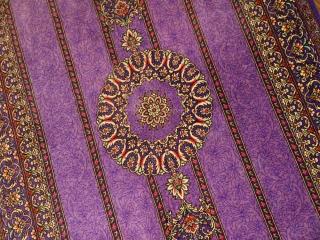 素敵なパープル色手織りペルシャ絨毯クムシルク玄関マット75141